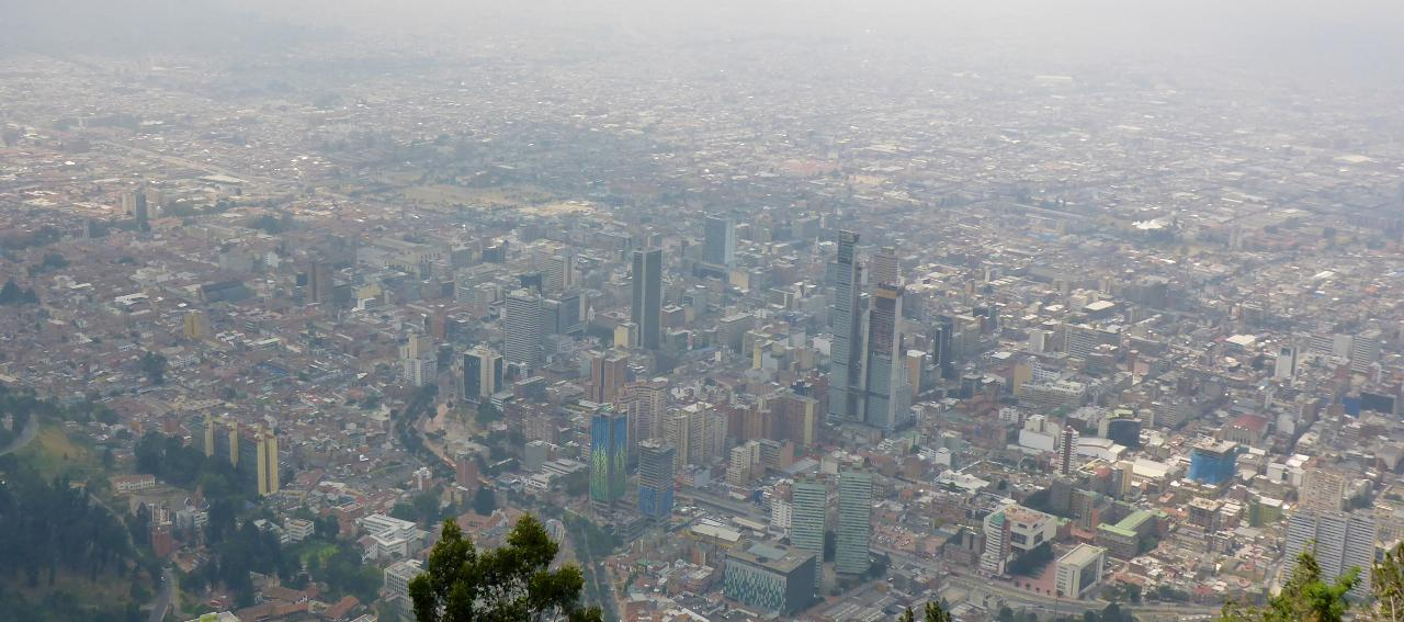 Bogota, Colombia from 3,190 meters (12,828 feet).