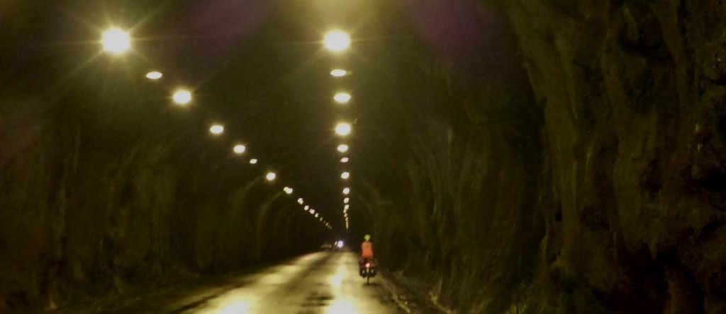 We cycled through 6 tunnels this afternoon.