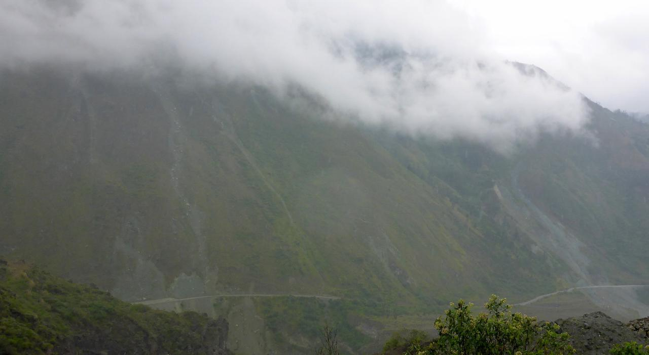 The other side of Volcan Tungurahua where one can see recent lava flows.