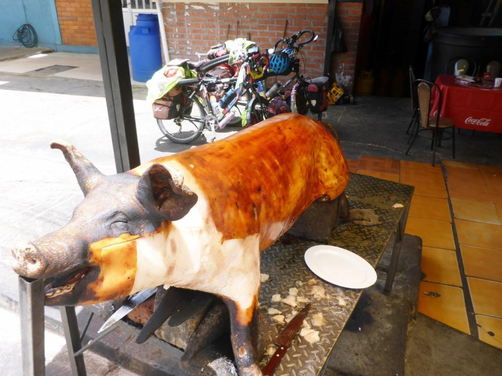 After passing many restaurants with these pigs displayed we decided to try it.