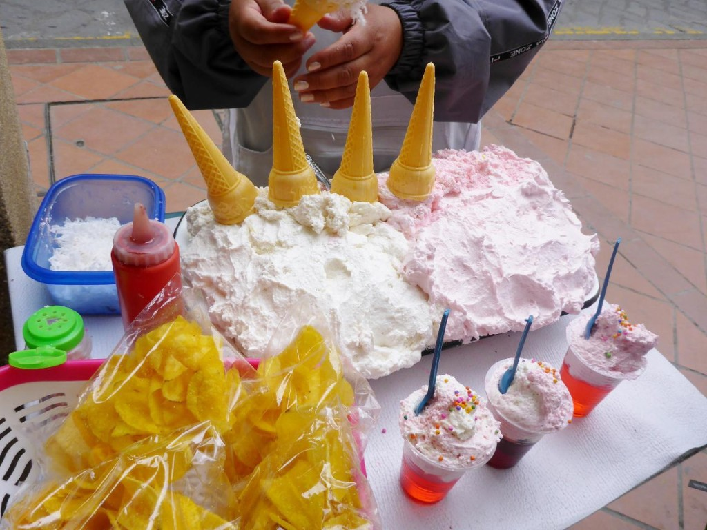Cones with a type of whipped cream.