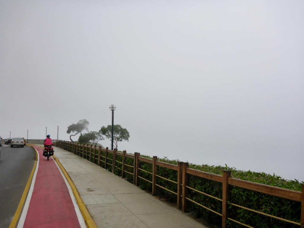 Leaving Lima in the fog.