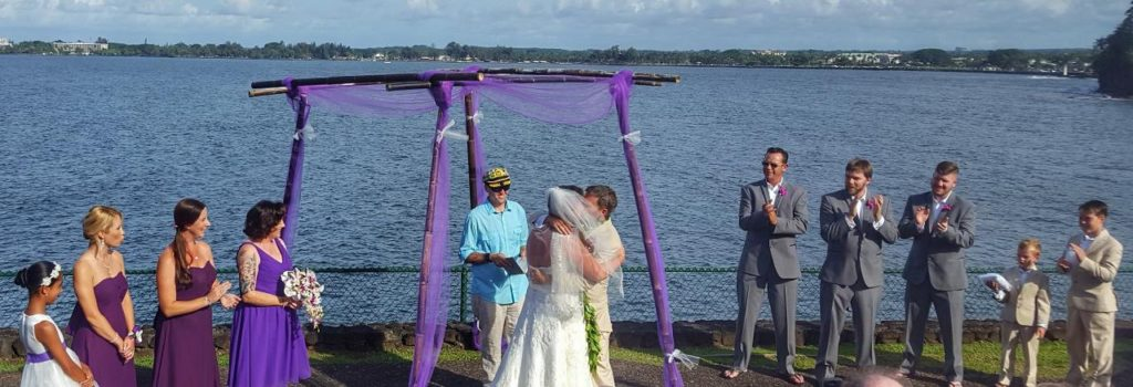 A beautiful wedding overlooking Hilo Bay.