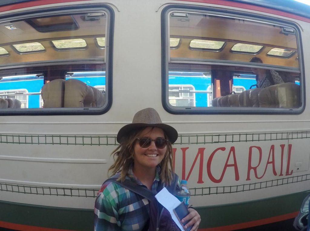 Boarding Inca Rail to Aguas Calientes.