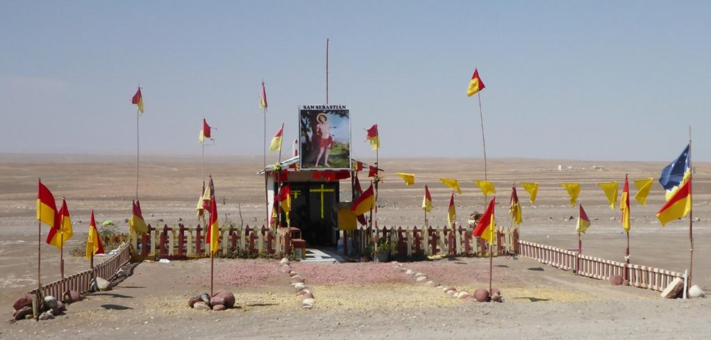 An elaborate roadside shrine.