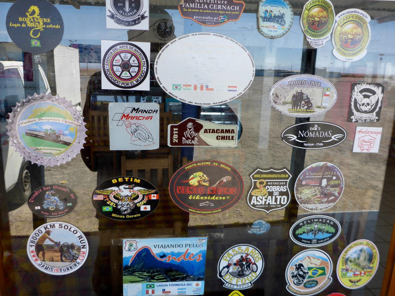 Since Mexico we have stopped in many desert restaurants, of which we have added our fatherdaughtercyclingadventures sticker - middle left.