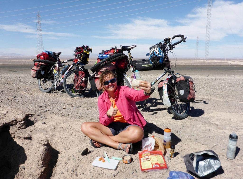 A great roadside lunch of tortilla, avocado, and tuna. Tortillas - what a great find. Thanks Jocelyn! But no shade until 2 hours later...