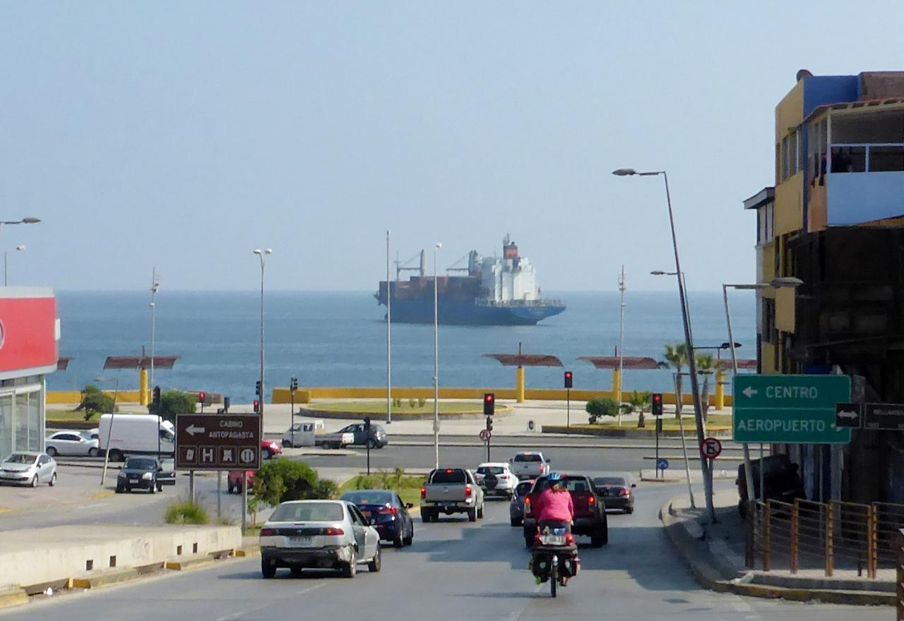 Entering the Chilean port city of Antofagasta.