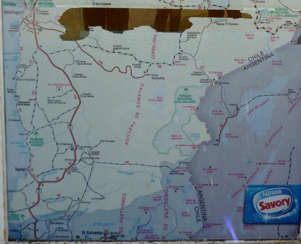 This shows our route south to Taltal. Once again we will enter the desert.