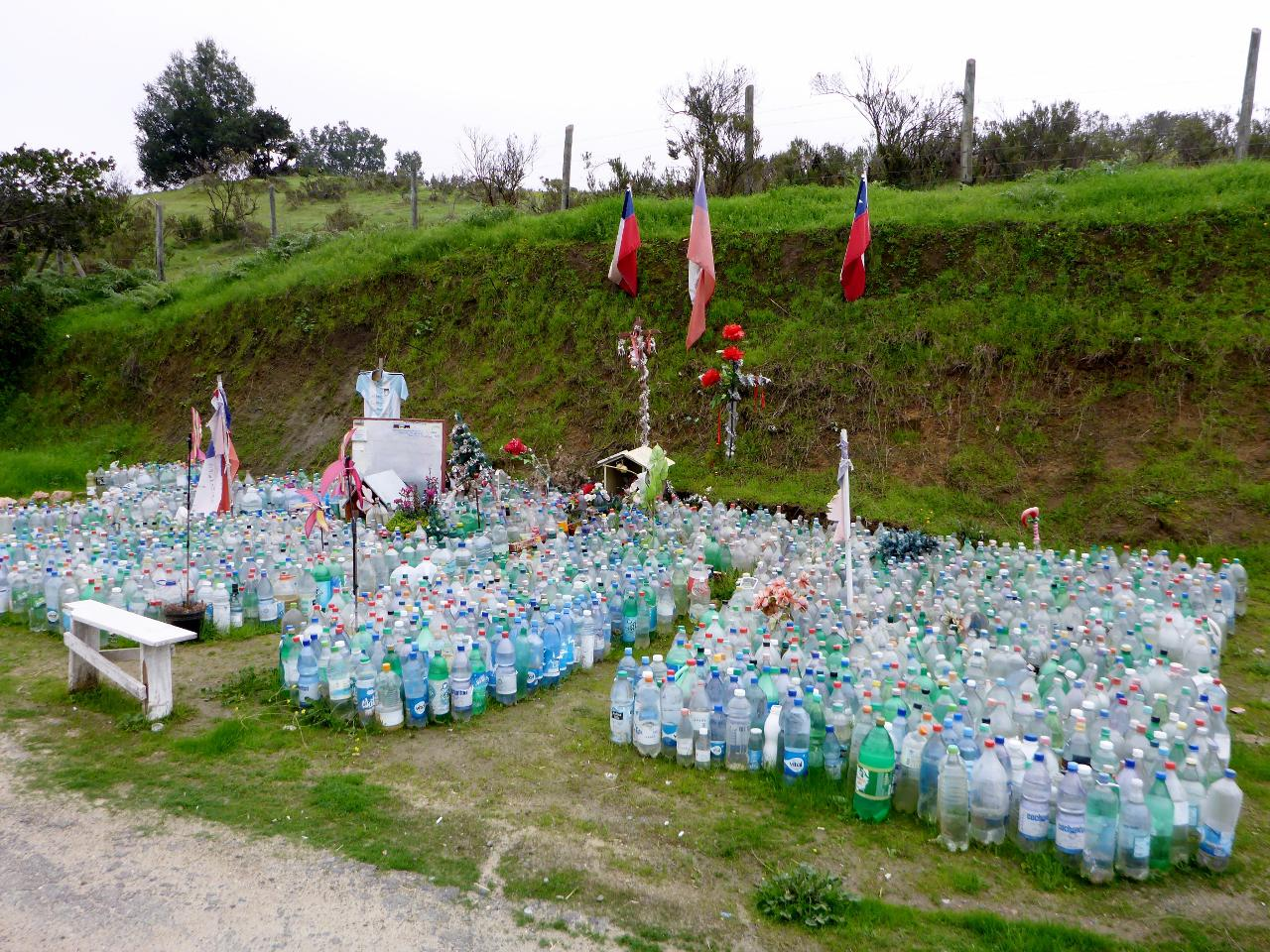 I don't understand the water bottles at this roadside memorial.