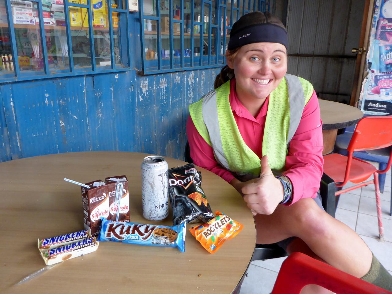 A break spot. A senor came out of the market and gave us each a Snickers bar. He said we would need it for the road ahead.