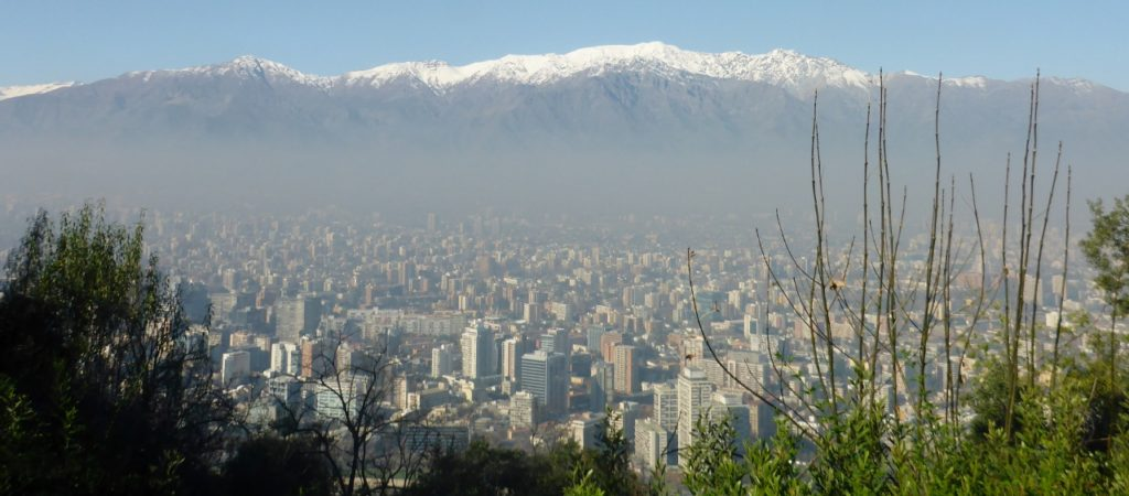 The view from San Cristóbal Hill overlooking Santiago. It is very smoggy in Santiago.