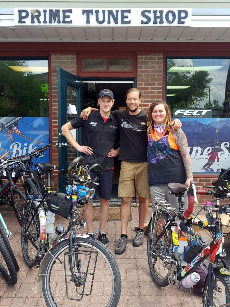 Thanks to Prime Tune Bike Shop in Calgary, Canada. Both of our drive trains were replaced along with a new bottom bracket for me. I last had that replaced in Serbia. This time it was full of sand probably from Peru.