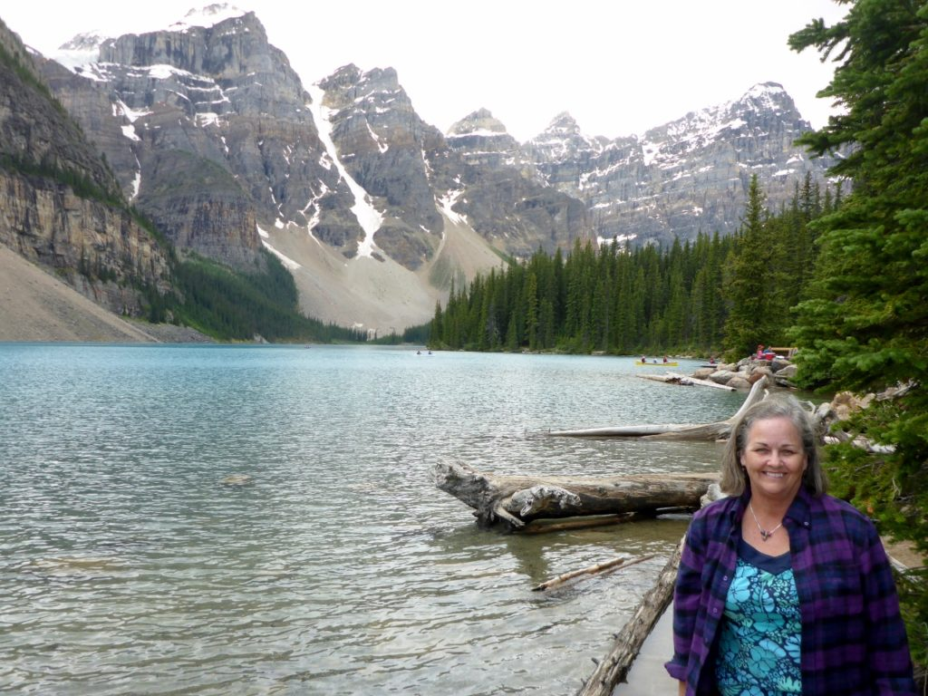My wife Andee at Lake Moraine in the Valley of Ten Peaks.