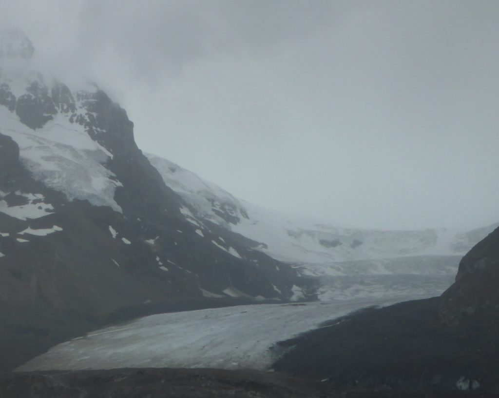 Athabasca Glacier is just one tongue of the massive Columbia Icefield which drains to the Atlantic, Pacific, and Arctic Oceans.