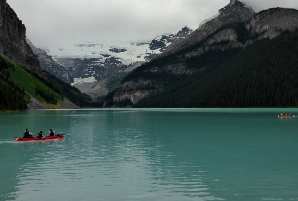 Lake Louise which is fed by the two glaciers (Victoria upper and lower) in the background.