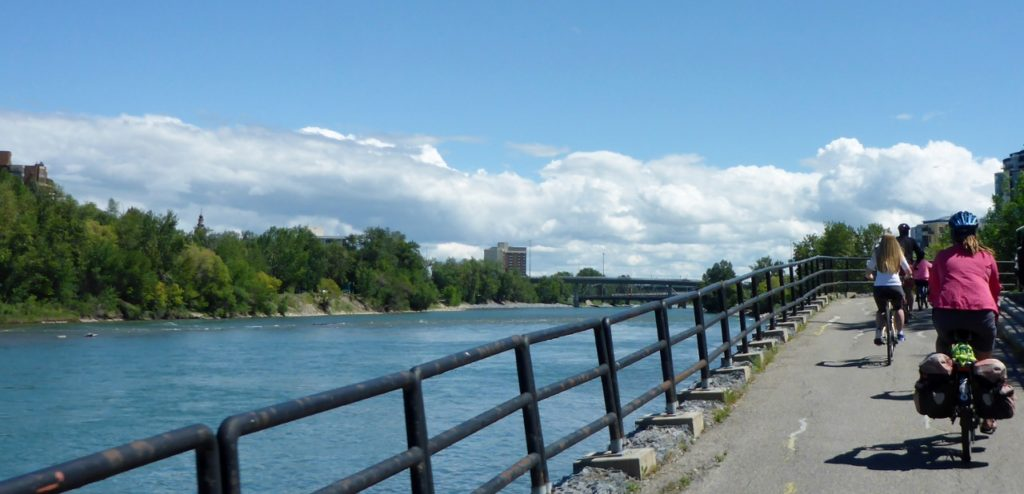 Finding our way around Calgary with bikepaths.