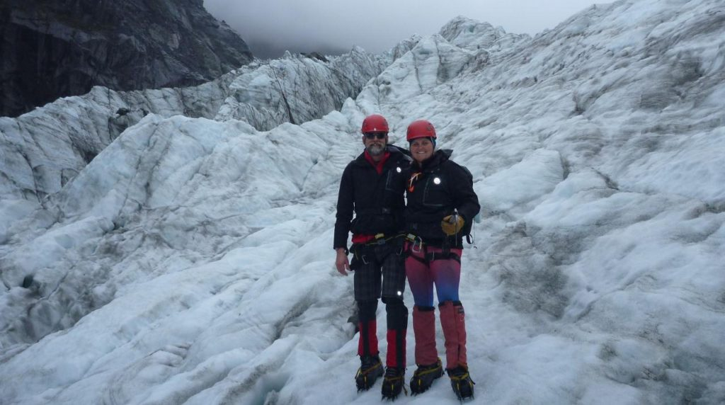 The last time we hiked on a glacier was back in 2012 while we cycled on the South Island of New Zealand. We took a day off of cycling to take an ice climbing course on Fox Glacier.