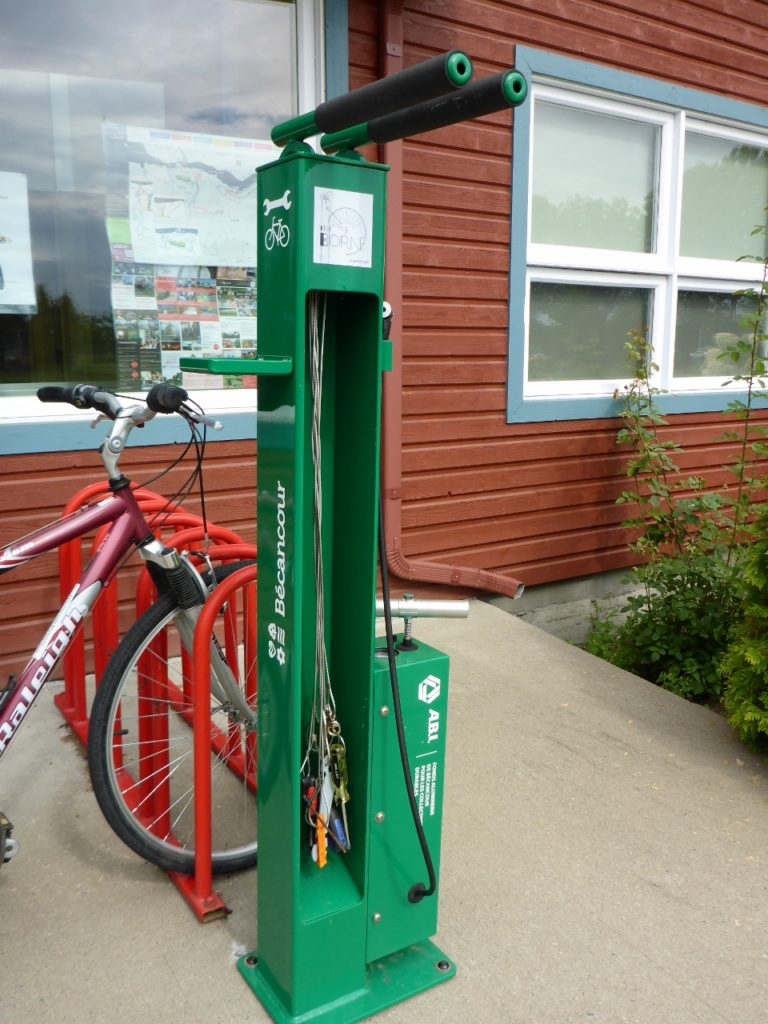 A mechanics bike station at a rest stop.