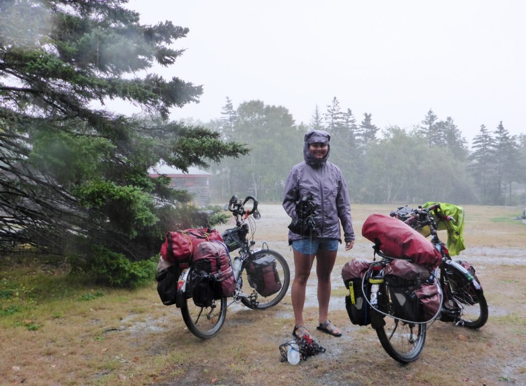 Packing up in the rain at a Yarmouth campground.