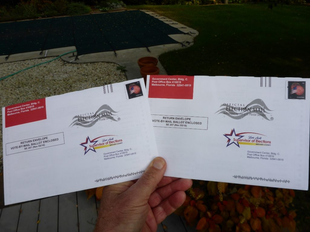 Thanks to my wife Andee and son Cary we have voted. Our host Toby mailed our absentee ballots and sent Jocelyn a picture showing so.