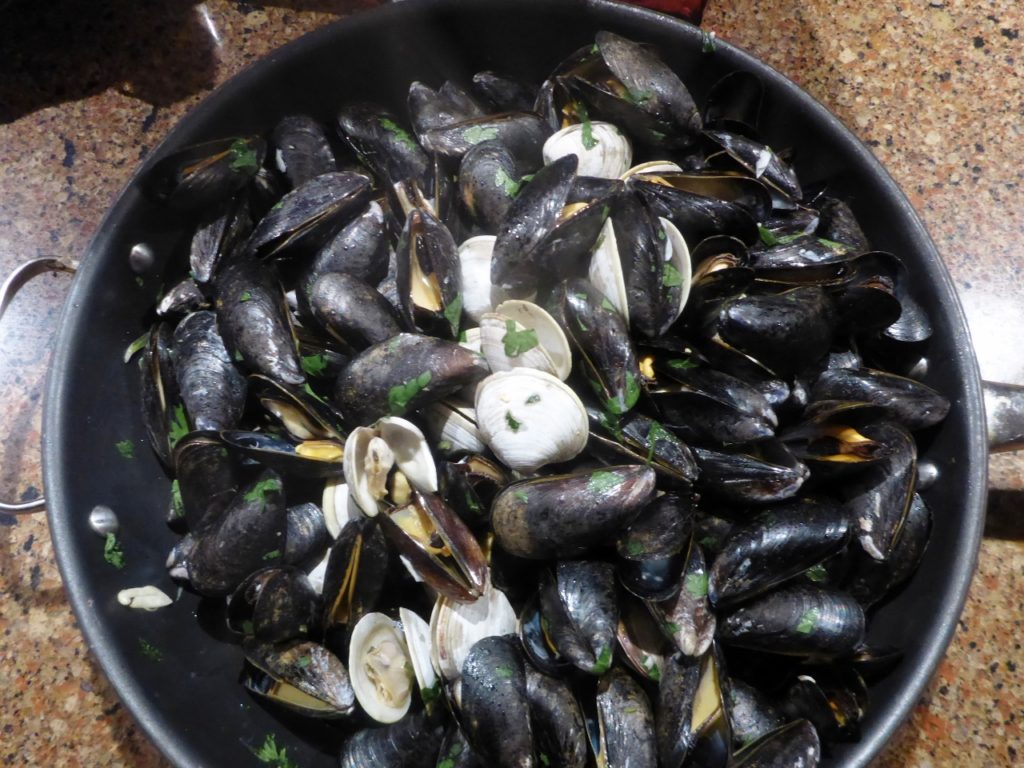 A great dinner of mussels and clams. Thanks to Christian, Carol and Mark.