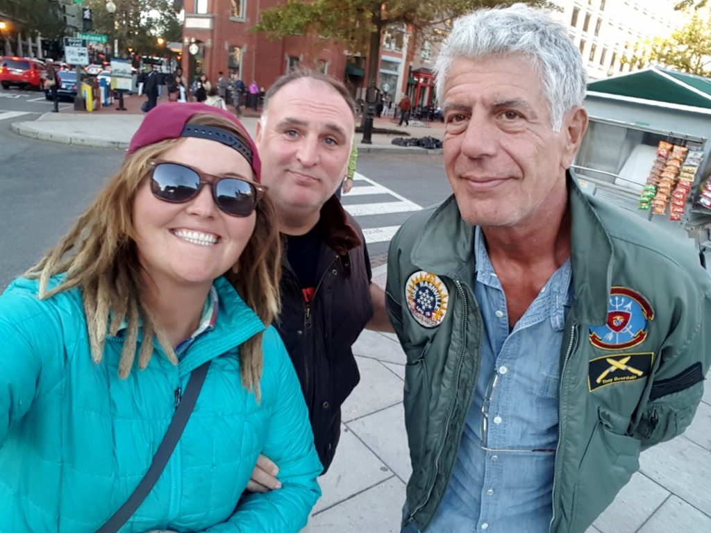 We met world famous chefs Jose Andres and Anthony Bourdain walking down the street. Jocelyn noticed them first and asked for a selfie.