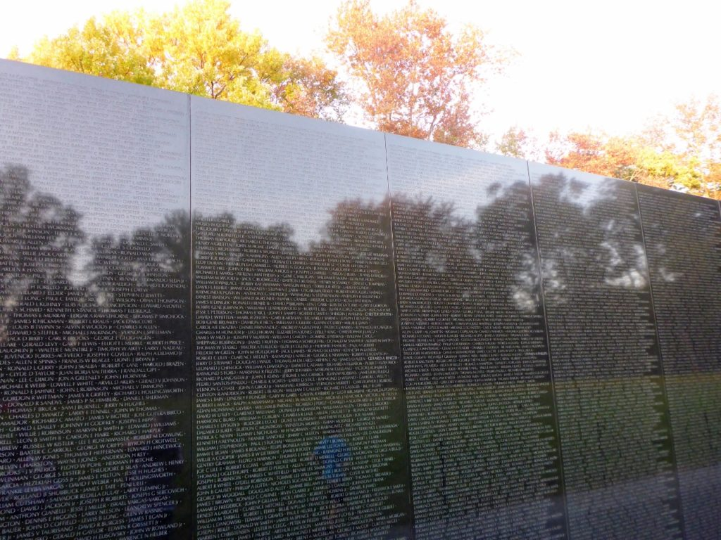 There are 58,307 names of the deceased inscribed on the wall.