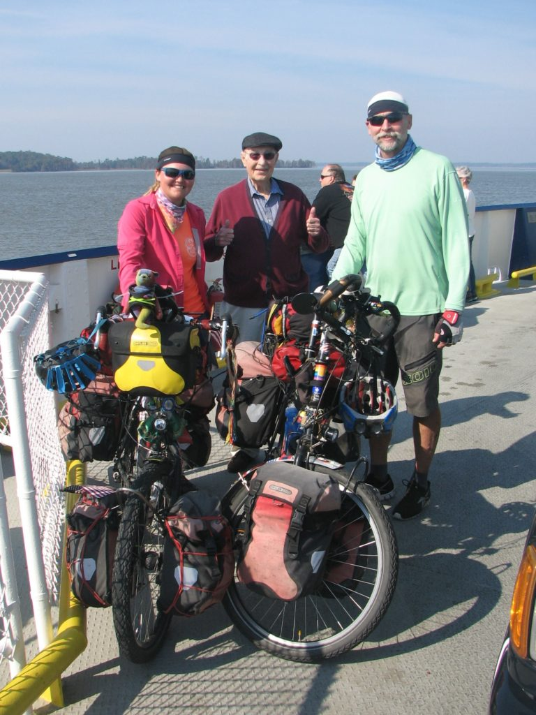 We met Julie and Les on the ferry. Julie took this picture of us and Les. Thanks Julie.