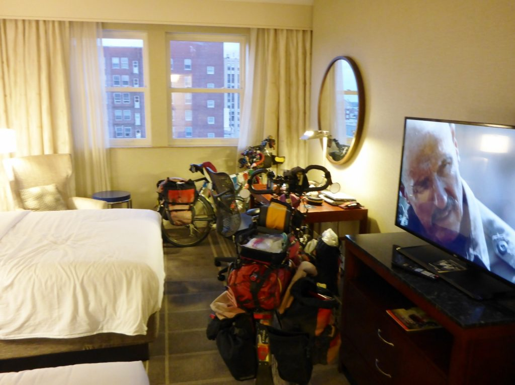 Our bikes on the 7th floor of the Richmond Hilton. Thanks Leslie!