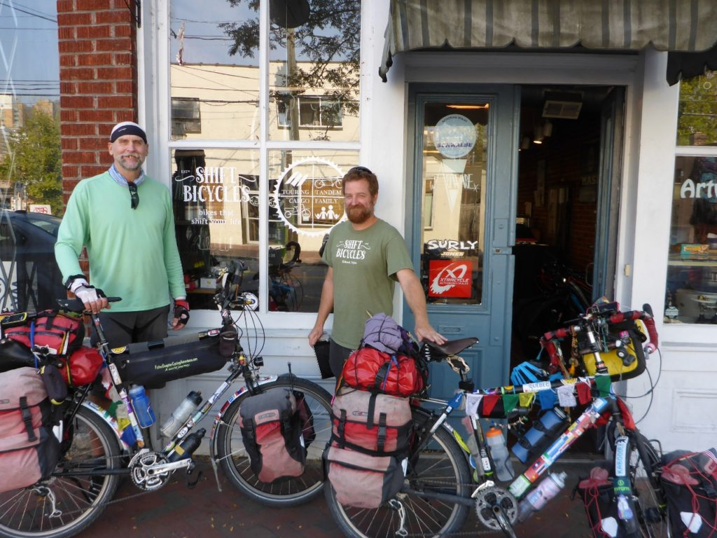 Thanks to Glenn of Shift Bicycles in Richmond for the new saddle and helping us with a few other things. What a great bicycle touring shop.