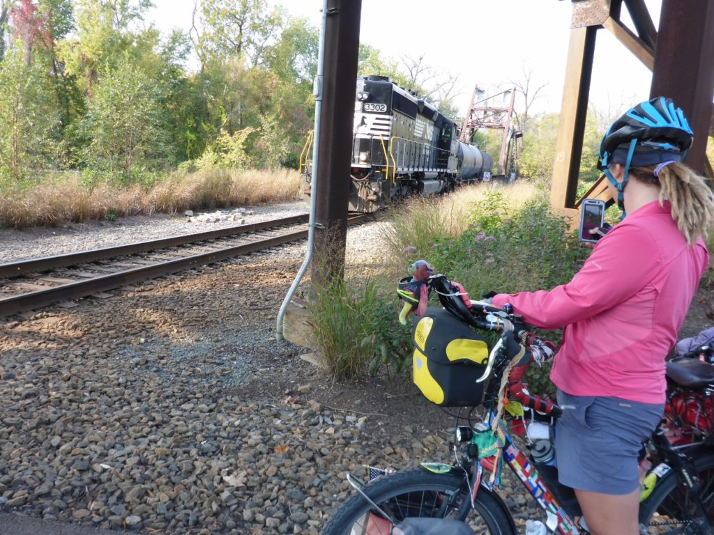 Waiting for the train on the Capital Trail.