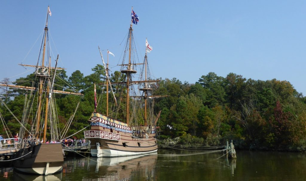 Replicas of two of the ships that sailed from England to Jamestown in 1607.