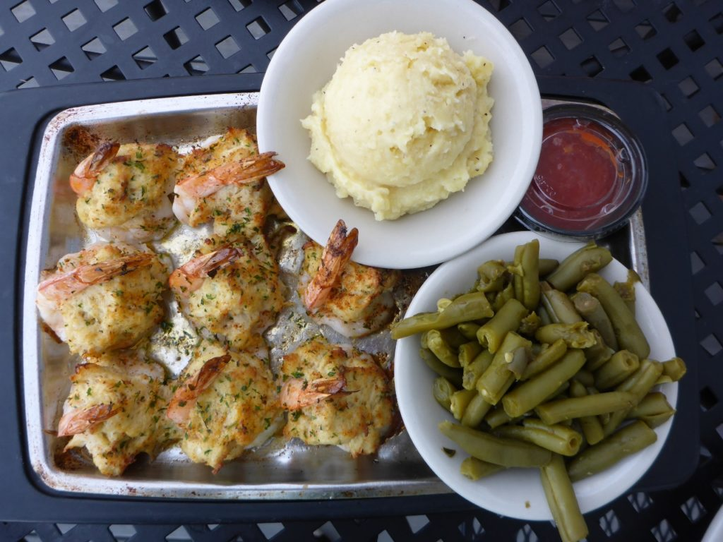 Stuffed shrimp with crab at the Surry Fish Company. A gentleman from North Carolina surprised us with a free lunch.