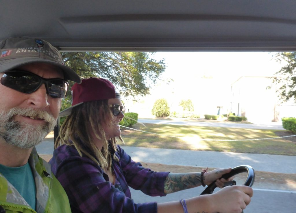 We took a day off in Myrtle Beach and traded in our bikes for a golf cart.