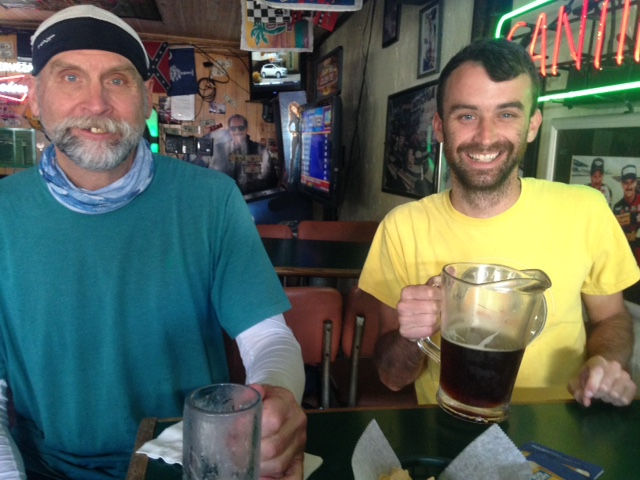Enjoying beer with my son, Cary. No wonder Cary has a big smile as gets a pitcher and me a mug! Should be the other way! Thanks for keeping the house going and being there for your mom.