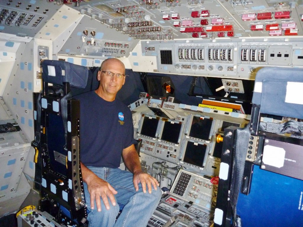 Onboard the flight deck of Endeavour. I spent almost 30 years working on the Space Shuttle Program.