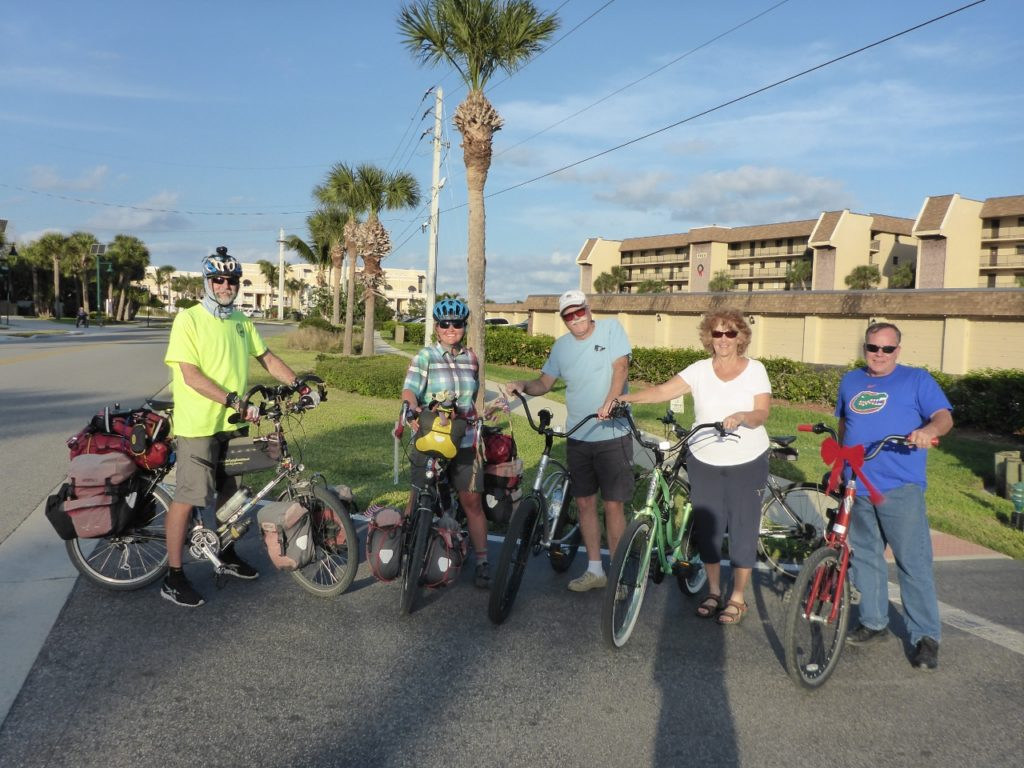 Riding to the Florida Brewing Company with neighbors Charlie, Janice and Tim.